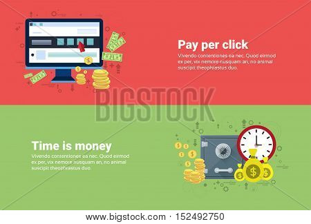Time Is Money, Pay Per Clock Online Payment Web Banner Flat Vector Illustration