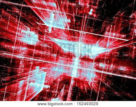 Abstract red technology background. Fractal geometry: shiny glass corridor or street stretches to the horizon. Future city or virtual reality concept. Computer-generated image for posters, web design.