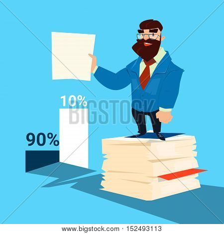 Successful Business Man Hold Paper Document Paperwork Finance Success Flat Vector Illustration