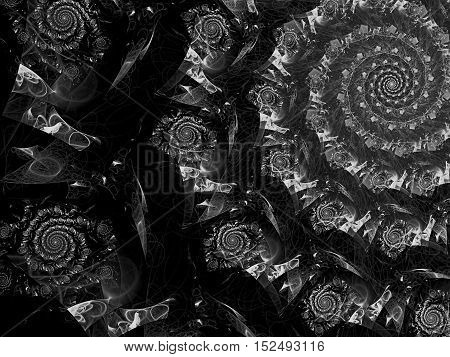 Abstract fractal background - computer-generated image. Digital art: part of precious spiral. Ornamental backdrop for banners, web design, desktop wallpaper.