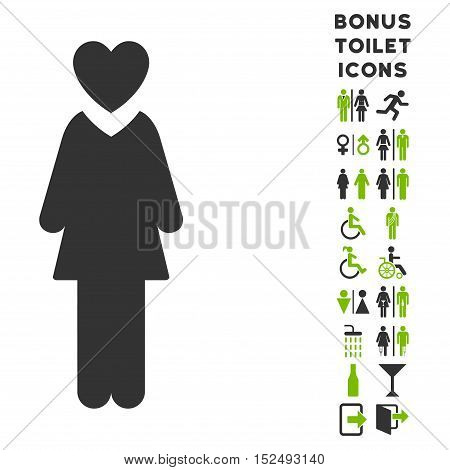 Mistress icon and bonus man and woman toilet symbols. Vector illustration style is flat iconic bicolor symbols, eco green and gray colors, white background.