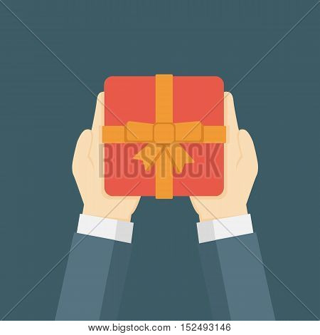 Flat Design Illustration Of Hand Holding Gift Box