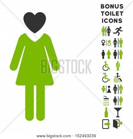 Mistress icon and bonus man and female lavatory symbols. Vector illustration style is flat iconic bicolor symbols, eco green and gray colors, white background.