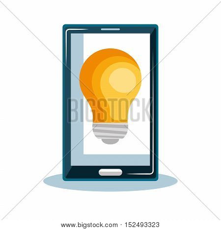 smartphone bulb idea innovation design icon vector illustration eps 10