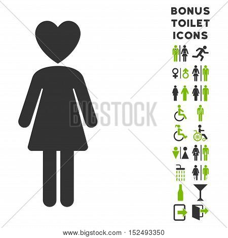 Mistress icon and bonus man and lady lavatory symbols. Vector illustration style is flat iconic bicolor symbols, eco green and gray colors, white background.