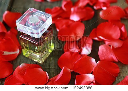 beautiful little bottle with a fragrant perfume on a table with flower petals