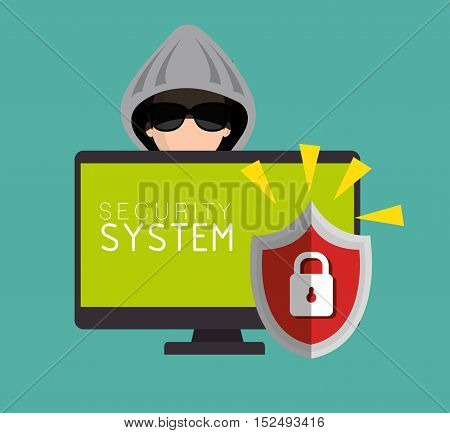 security system padlock protection hacked design vector illustration eps 10