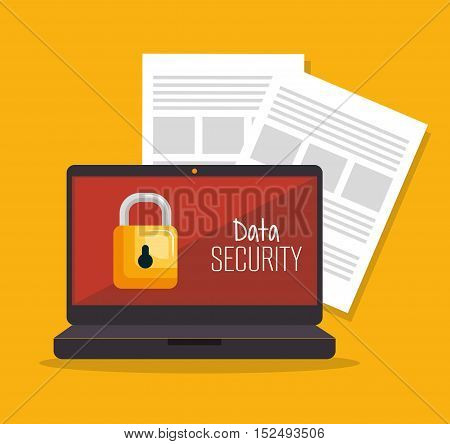 laptop security data server document vector illustration eps 10