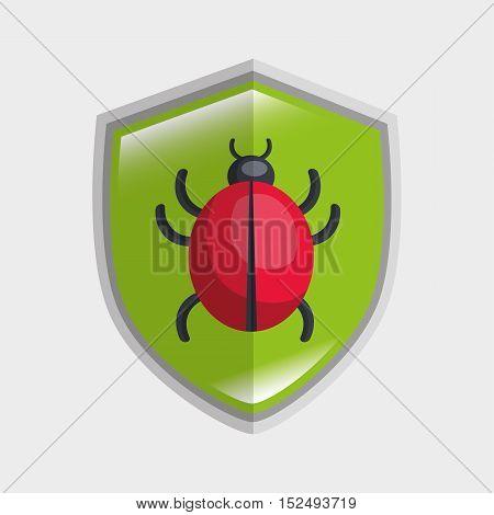 virus system icon warning data shield vector illustration eps 10