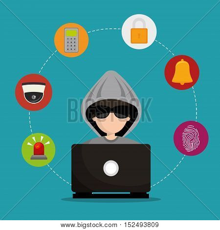 laptop hacked social media security vector illustration eps 10