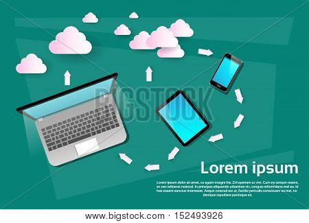 Laptop Computer Tablet Cell Smart Phone Cloud Database Data Synchronization Flat Vector Illustration