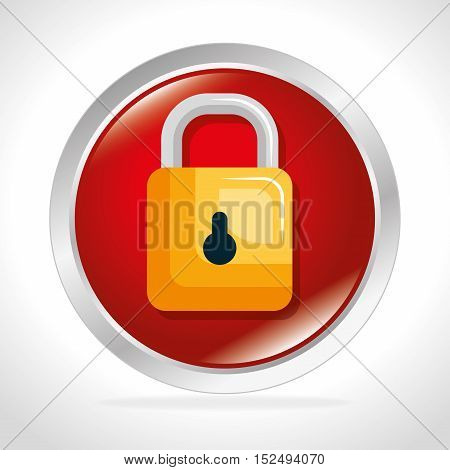 security system padlock concept button vector illustration eps 10