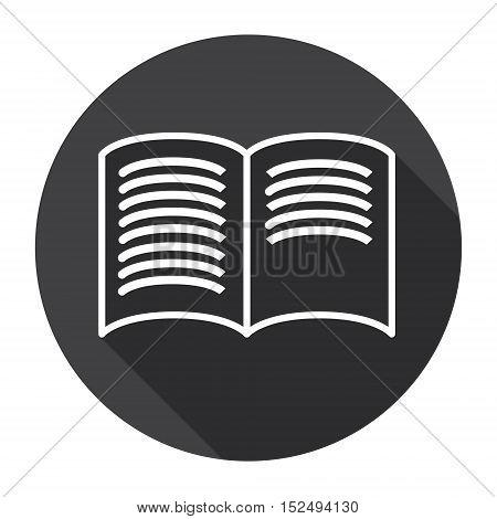 Open Book Black Web Icon Flat Vector Illustration