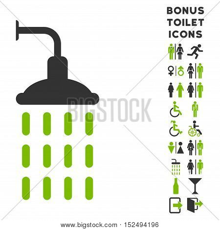 Shower icon and bonus man and lady toilet symbols. Vector illustration style is flat iconic bicolor symbols, eco green and gray colors, white background.