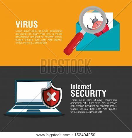 internet security system banner email laptop vector illustration eps 10