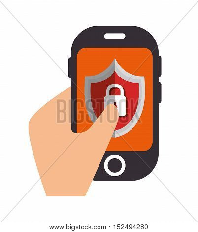 protection data cellphone lock shield vector illustration