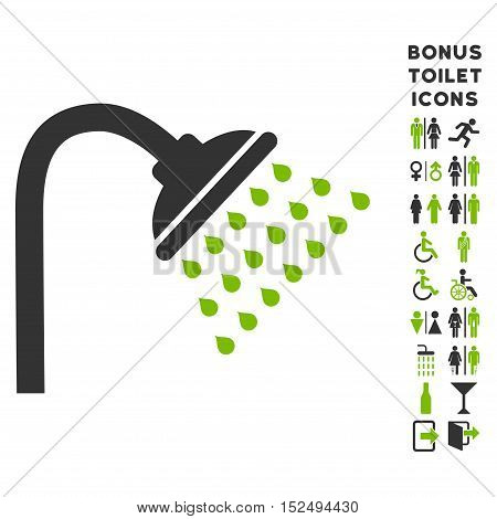 Shower icon and bonus male and female toilet symbols. Vector illustration style is flat iconic bicolor symbols, eco green and gray colors, white background.