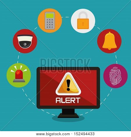 laptop alert bug lock password bell vector illustration eps 10
