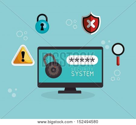 laptop technology security system data vector illustration eps 10
