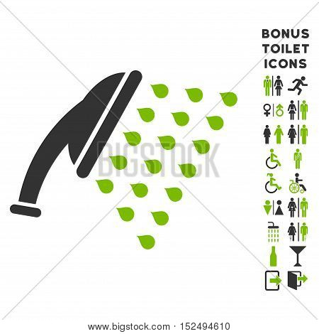 Shower icon and bonus gentleman and female toilet symbols. Vector illustration style is flat iconic bicolor symbols, eco green and gray colors, white background.