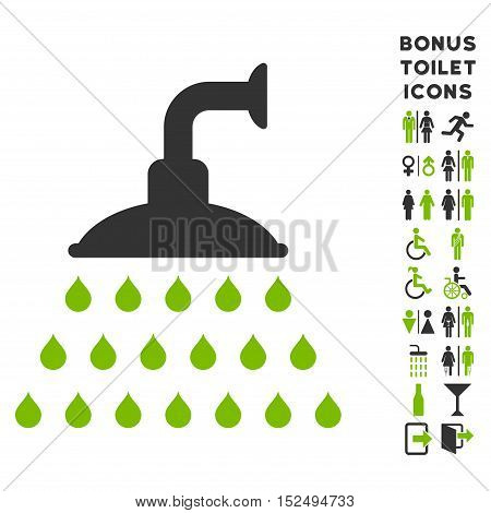 Shower icon and bonus male and woman toilet symbols. Vector illustration style is flat iconic bicolor symbols, eco green and gray colors, white background.