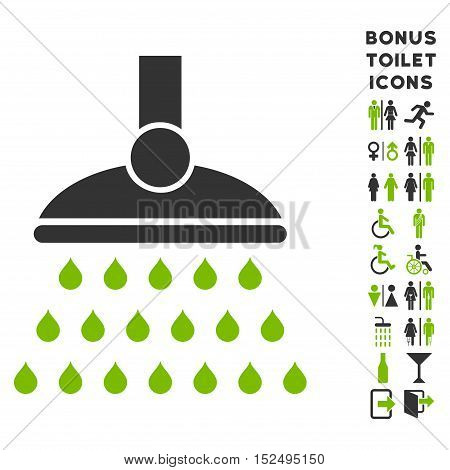 Shower icon and bonus gentleman and lady toilet symbols. Vector illustration style is flat iconic bicolor symbols, eco green and gray colors, white background.