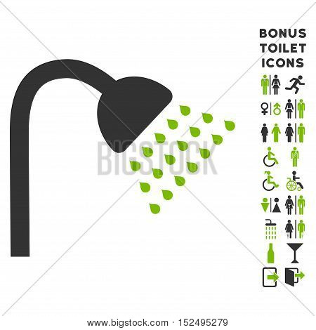 Shower icon and bonus male and lady toilet symbols. Vector illustration style is flat iconic bicolor symbols, eco green and gray colors, white background.