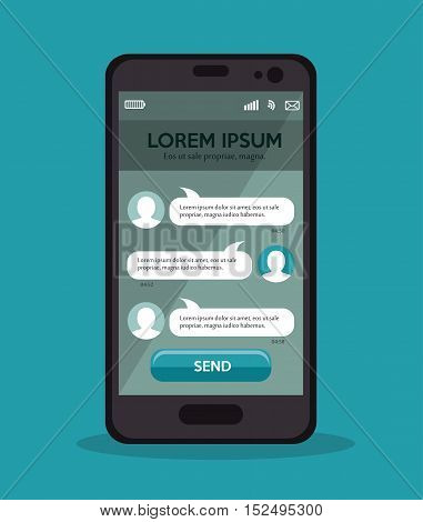 mobile with chat message design vector illustration eps 10