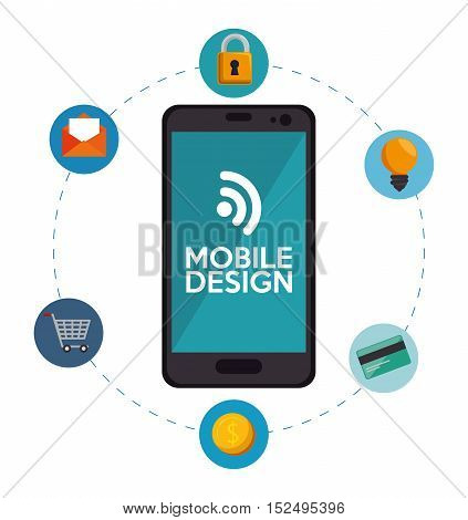 mobile design connection media social icons vector illustration eps 10
