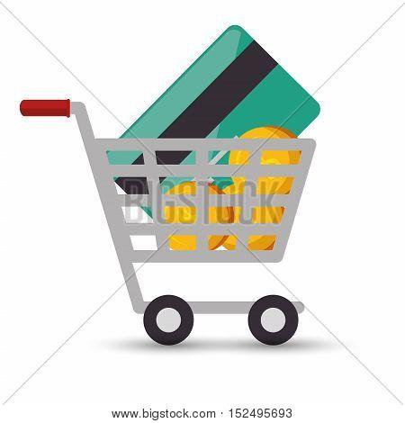 shopping cart online money credit card coin design vector illustration eps 10