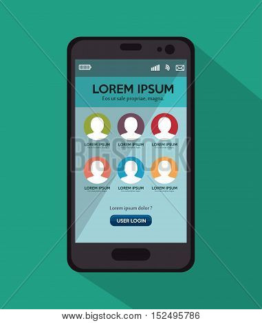 smartphone user loggin green background with shadow vector illustration eps 10