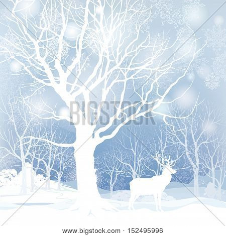 Snow winter landscape with animal deer. Nature illustration of winter forest. Snow winter background.