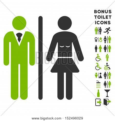 Toilet Persons icon and bonus male and female toilet symbols. Vector illustration style is flat iconic bicolor symbols, eco green and gray colors, white background.