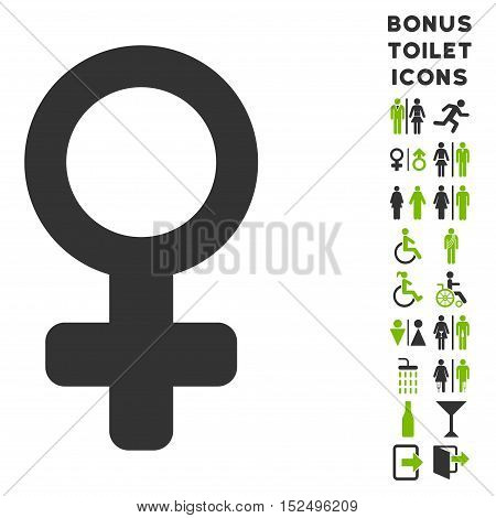 Venus Symbol icon and bonus male and woman lavatory symbols. Vector illustration style is flat iconic bicolor symbols, eco green and gray colors, white background.