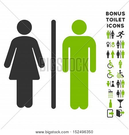 WC Persons icon and bonus male and woman lavatory symbols. Vector illustration style is flat iconic bicolor symbols, eco green and gray colors, white background.