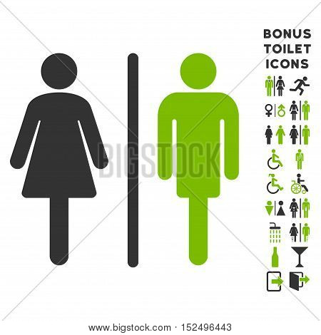 WC Persons icon and bonus male and woman toilet symbols. Vector illustration style is flat iconic bicolor symbols, eco green and gray colors, white background.