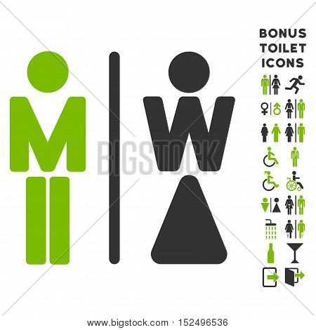 WC Persons icon and bonus gentleman and lady restroom symbols. Vector illustration style is flat iconic bicolor symbols, eco green and gray colors, white background.