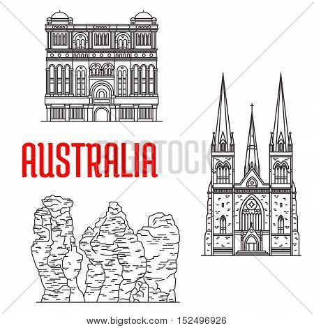 Australian travel landmarks of architecture and nature thin line icon with Cathedral of Saint Patrick in Victoria, rock formation Three Sisters in New South Wales, Queen Victoria Building in Sydney