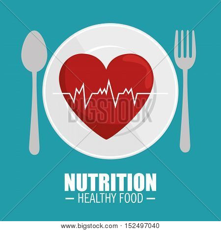 heart pulse nutrition healthy vector illustration eps 10