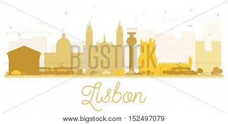 Lisbon City skyline golden silhouette. Simple flat concept for tourism presentation, banner, placard or web site. Business travel concept. Cityscape with landmarks