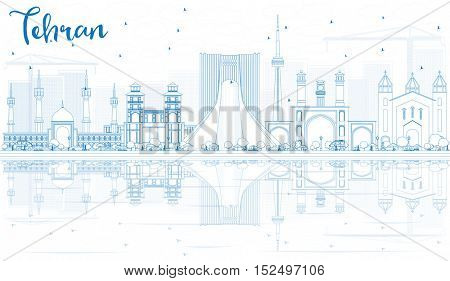 Outline Tehran Skyline with Blue Landmarks and Reflections. Business Travel and Tourism Concept with Historic Architecture. Image for Presentation Banner Placard and Web Site.