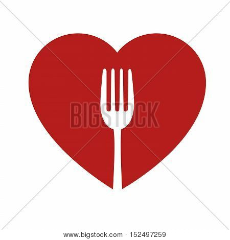 heart and fork sign healthy food icon vector illustration eps 10