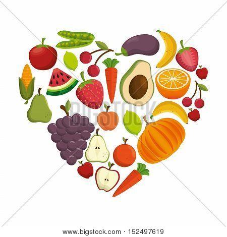 healthy food concept heart shape icon vector illustration eps 10