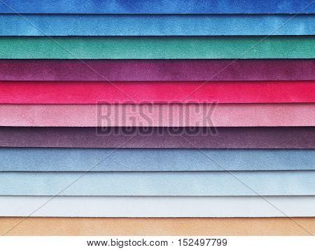 Close up set of velvet color swatch