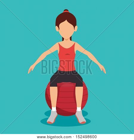 woman sitting on sphere gym fitness vector illustration eps 10
