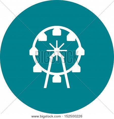 Wheel, ferris, park icon vector image. Can also be used for circus. Suitable for use on web apps, mobile apps and print media.