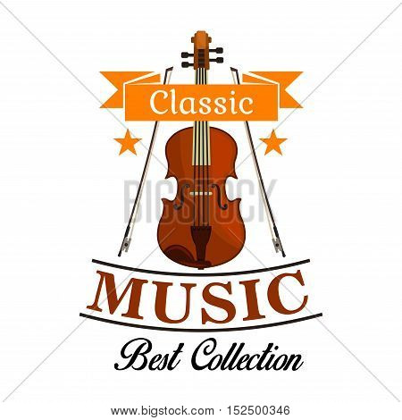 Classic music isolated icon of violin with bows, framed by ribbon banner and stars. Musical concert, festival, art themes design