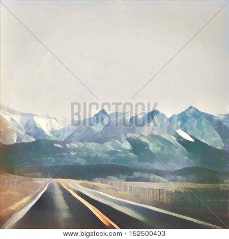 Watercolor painting of road to the mountains
