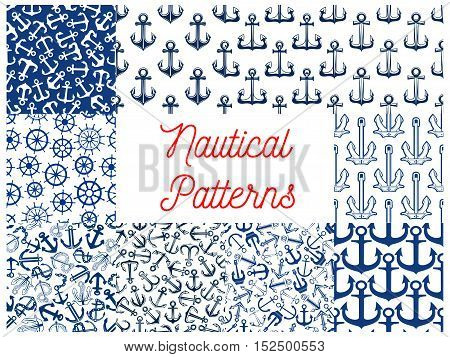 Blue nautical seamless patterns with set of marine ship anchor with rope and chain, retro wooden helm and steering wheel. Water transportation and travel themes design