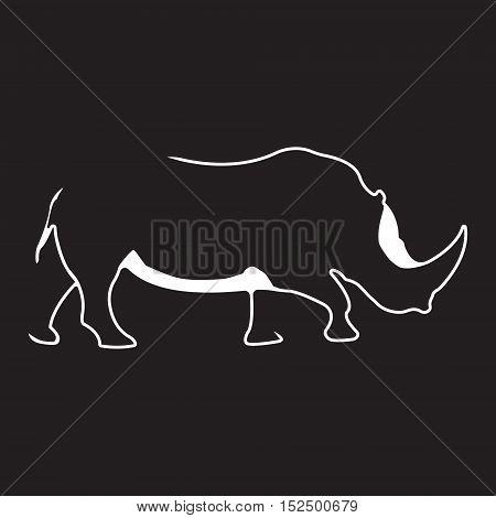 Rhino logo. Silhouette vector symbol of rhino for design company's logo, tattoo, visit card, etc. Monochrome sign of animal.